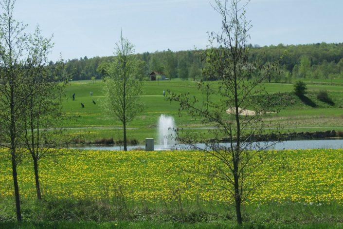 Sommerlicher Blick über den See der 6. Spielbahn auf dem Ostkurs im Golfclub Praforst
