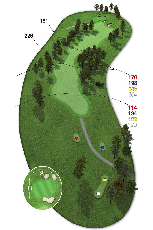 18 Loch Ostkurs Bahn 11 im Golfclub Praforst