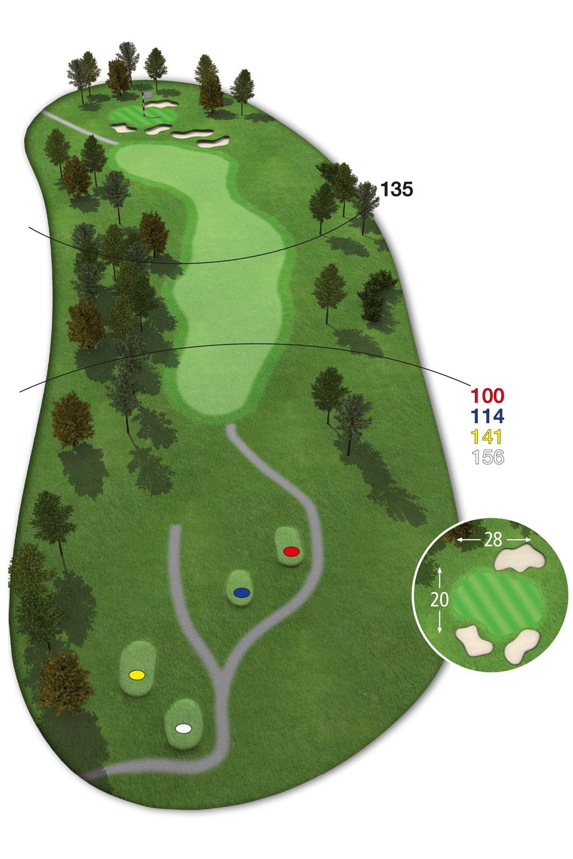 18 Loch Ostkurs Bahn 12 im Golfclub Praforst