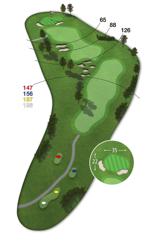 18 Loch Ostkurs Bahn 14 im Golfclub Praforst