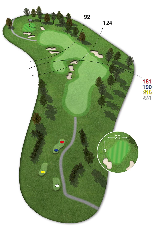 18 Loch Ostkurs Bahn 16 im Golfclub Praforst