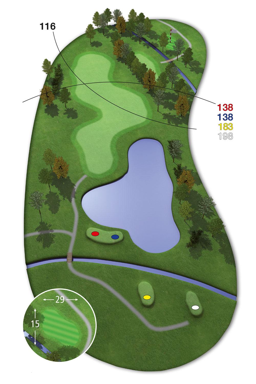 18 Loch Ostkurs Bahn 6 im Golfclub Praforst