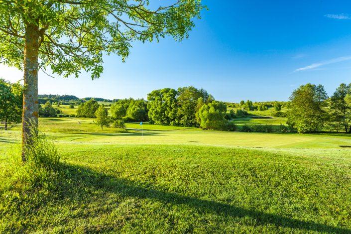 Blick auf das 7. Grün auf dem Ostkurs im Golfclub Praforst