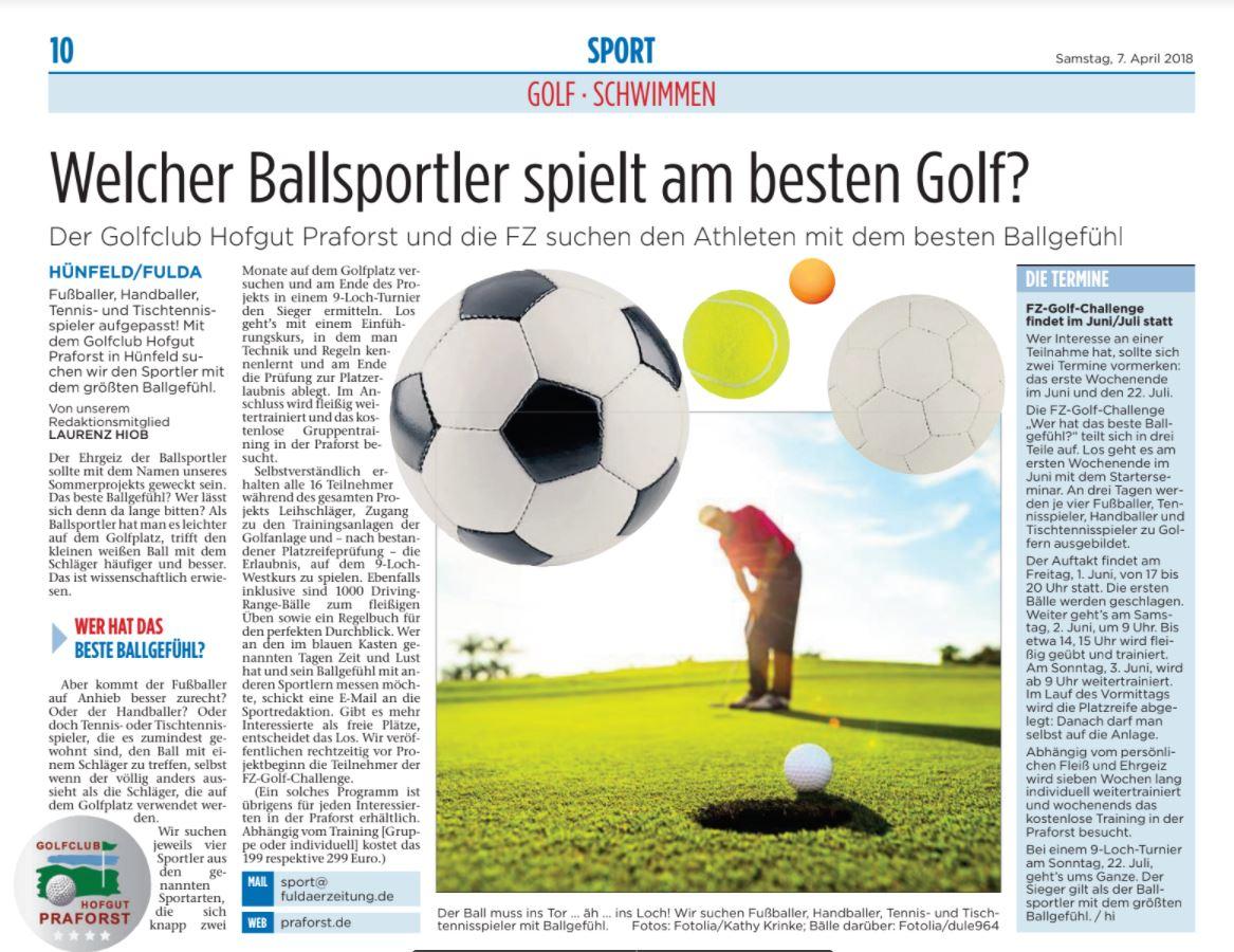Der Golfclub Hofgut Praforst und die FZ suchen den Athleten mit dem besten Ballgefühl