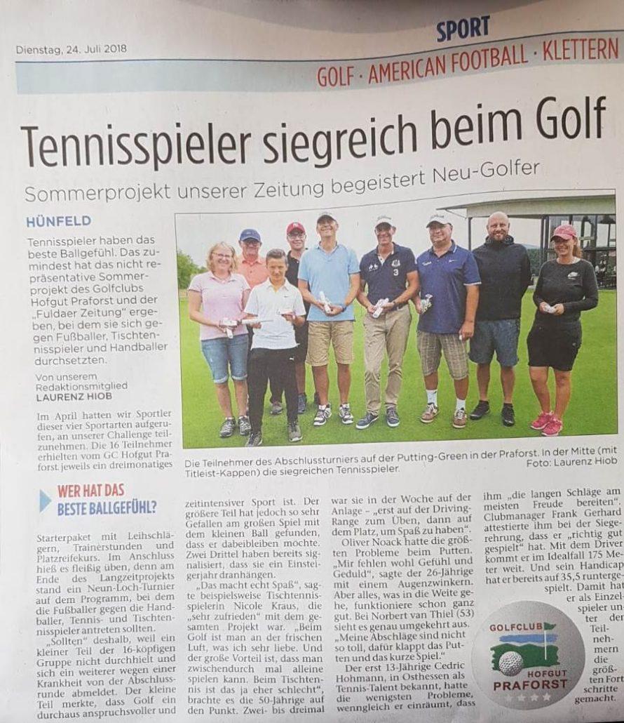 Sommerprojekt Challenge 2018 Fuldaer Zeitung und Golfclub Praforst